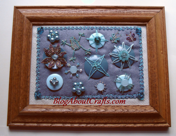 embroidered and beaded button art